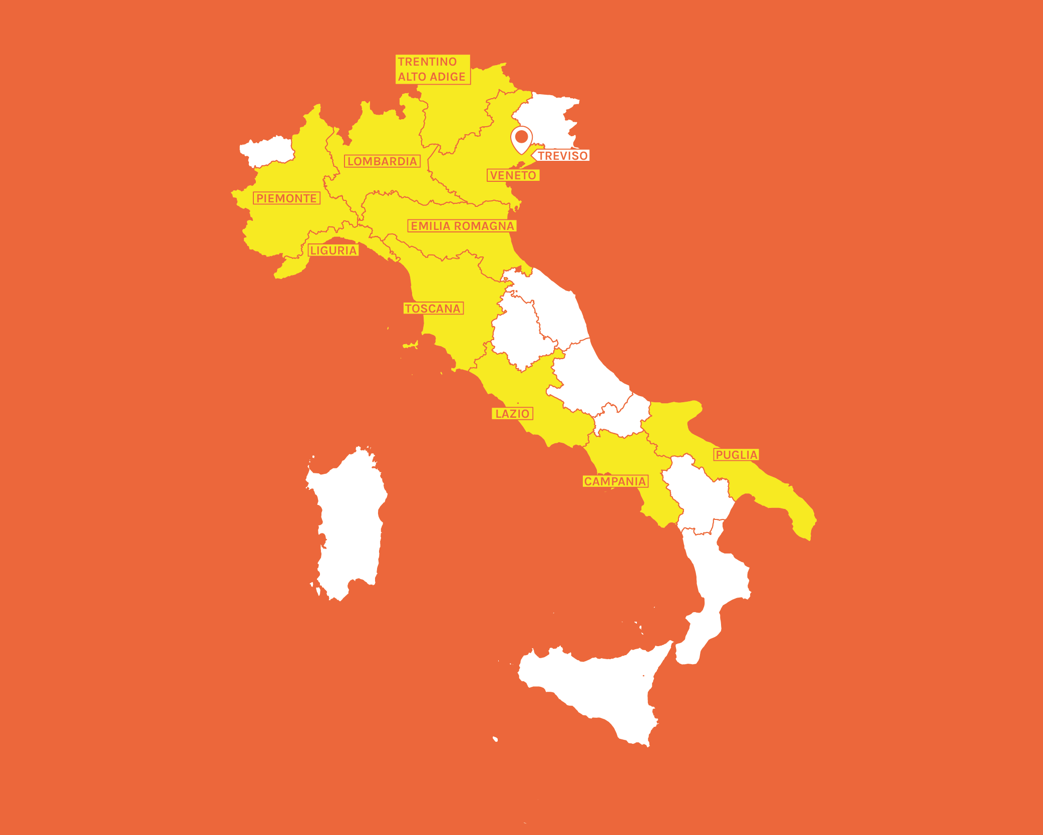 Mappa che mostra dove si trova Informatici Senza Frontiere in Italia